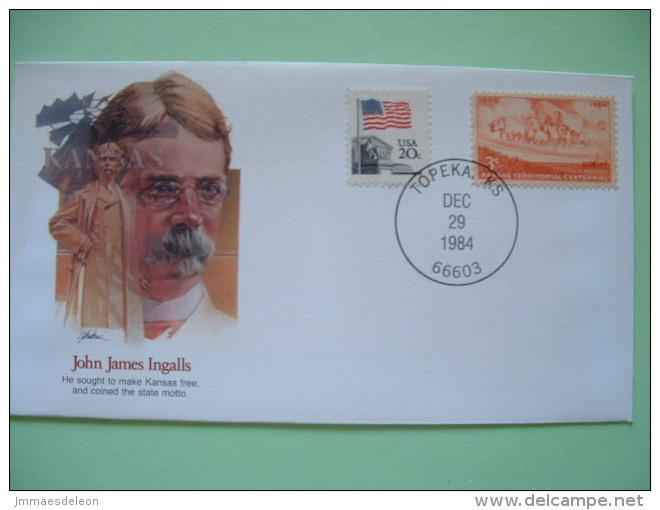 USA 1982 Commemorative Cover Proudest Americans - John James Ingalls - Kansas - Flag - Ox Wagon - Etats-Unis