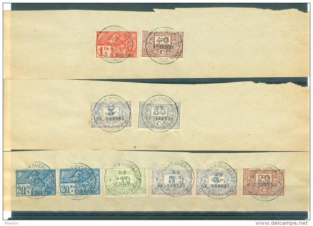 """BELGIE - Fiscale Zegels Op Fragment (ref. 7) -  """"LOUIS VAN OVERLOOP - ST-NICOLAS"""" - Revenue Stamps"""