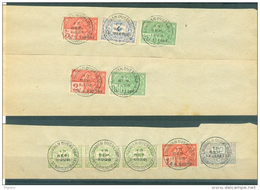 """BELGIE - Fiscale Zegels Op Fragment (ref. 8) -  """"LOUIS VAN OVERLOOP - ST-NICOLAS"""" - Revenue Stamps"""