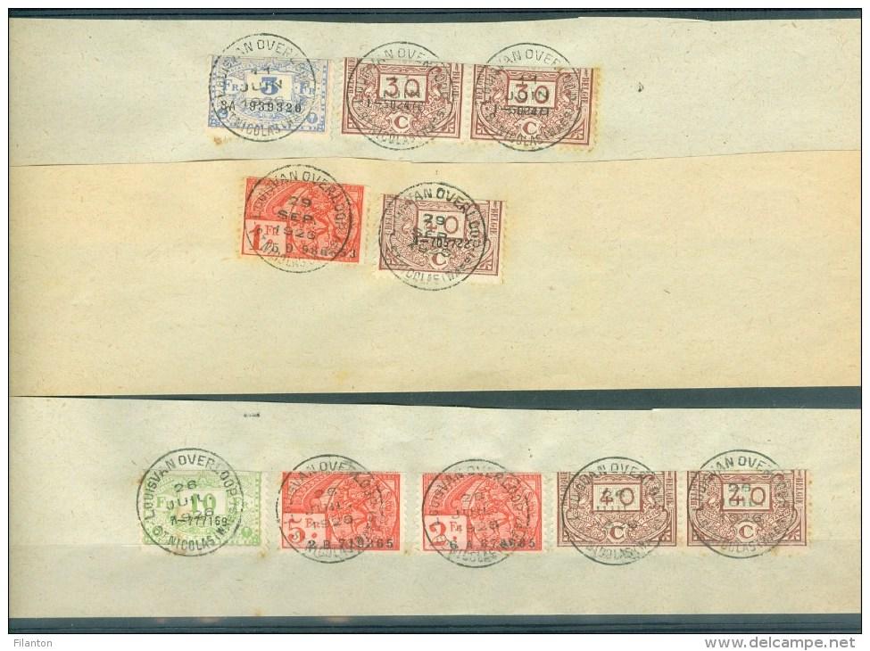"""BELGIE - Fiscale Zegels Op Fragment (ref. 10) -  """"LOUIS VAN OVERLOOP - ST-NICOLAS"""" - Stamps"""