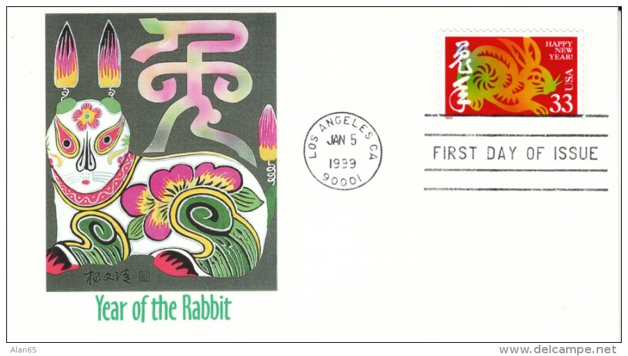 #3272 33-cent Chinese New Year Issue, Year Of The Rabbit FDC Illustrated Cover - First Day Covers (FDCs)