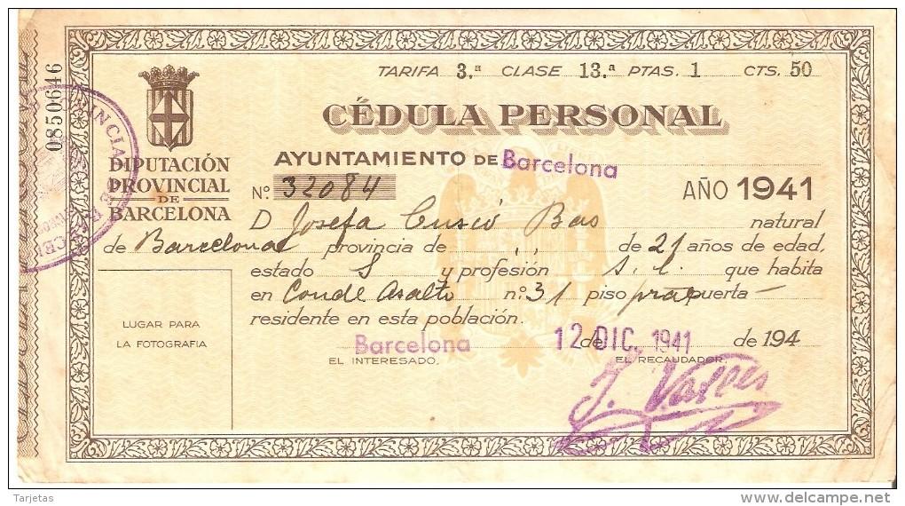CEDULA PERSONAL DEL AÑO 1941 DEL AYUNTAMIENTO DE BARCELONA - España