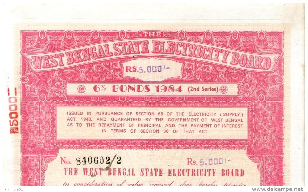 India 1984 West Bengal State Electricity Bonds 2nd Series Rs. 5000 # 10345G Inde Indien - Electricité & Gaz