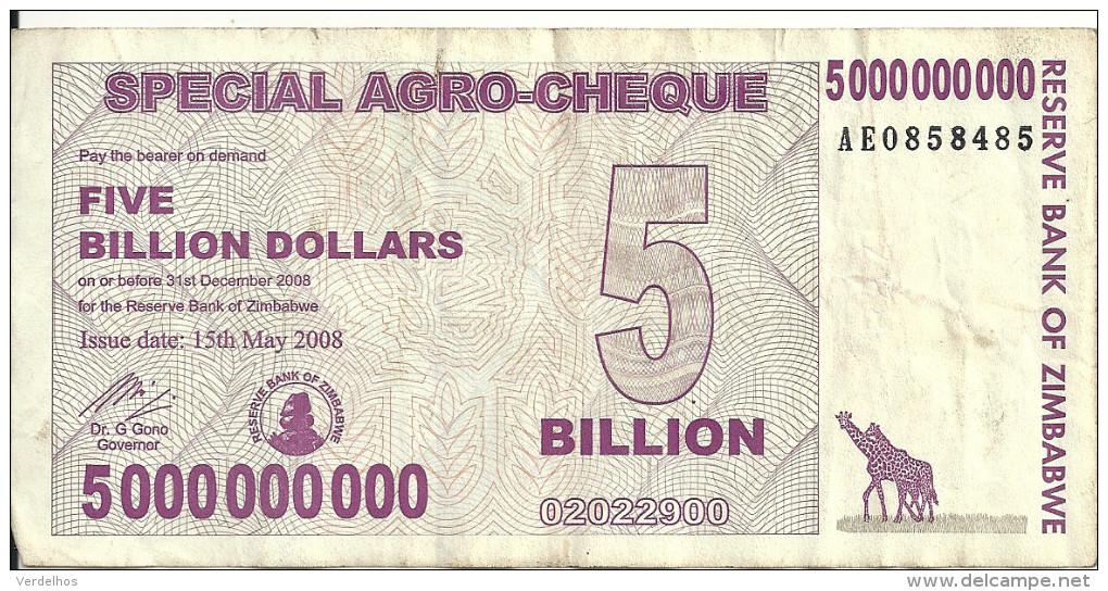 ZIMBABWE 5 BILLION 2008 SPECIAL AGRO CHEQUE VF P 61 - Zimbabwe