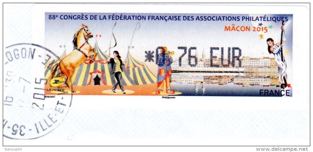 """VIGNETTE LISA    """" 88ème Congrès De La FFAP   MACON 2015 """"     0.76 Euros  (sur Fragment) - 2010-... Vignette Illustrate"""