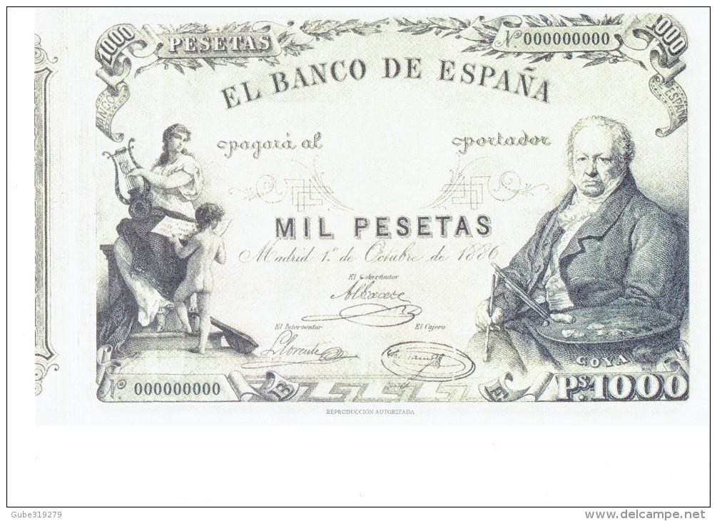 SPAIN 1886- REPLICA - REPRODUCCION  - FRANCISCO GOYA - ALEGORIAS  -BILL OF 1000 PTAS ISSUED OCT 1,1886 RE 97/1 PERFECT - [ 8] Fakes & Specimens