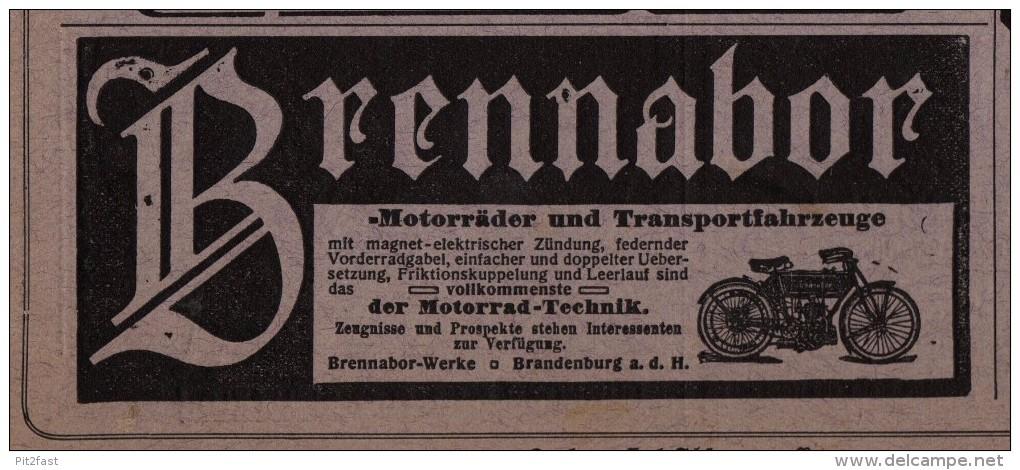 Original Werbung / Reklame - 1914 - Brennabor , Motorrad , Motorräder In Brandenburg A.H. !!! - Motorräder