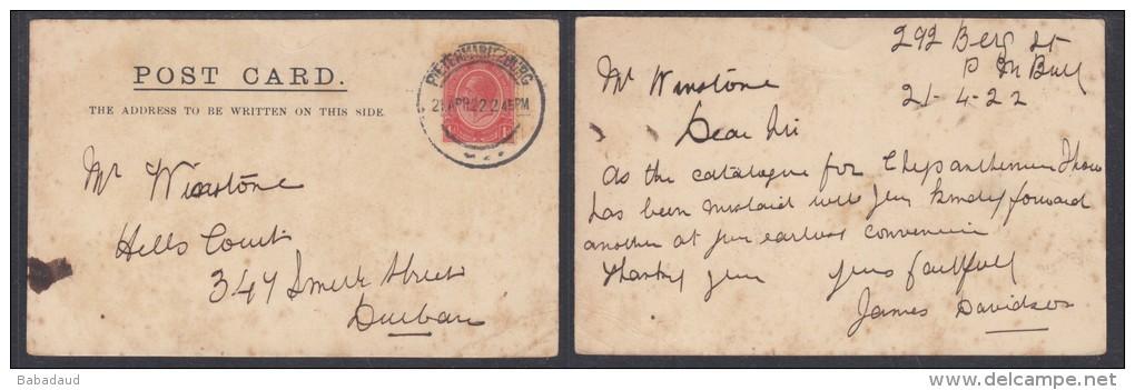 Card PIETERMARITZBURG To Durban, 1922. - South Africa (...-1961)