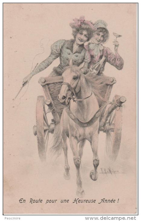 WICHERA  Illustrateur -  Deux  Femmes  Dans  Charette , Une  Un  Verre  En  Main . - Wichera