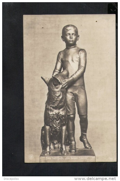 "N1119 Hans Latt Berlin "" DIE BEIDEN FREUNDE "" Skulpturen Erster Meister N. 751 - Bambini Enfant Kinder Cane Dog Pierro - Sculture"