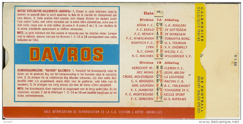"""Calendrier De Football BELGIQUE 1961/62 ( Pub : DERBY  / DAVROS )  """"1er , 2ème & 3ème Division """" - Autres"""