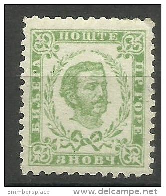 Montenegro - 1879 Prince Nicholas I  (2nd Print) 3n Yellow-green  MLH   Sc 9 - Montenegro
