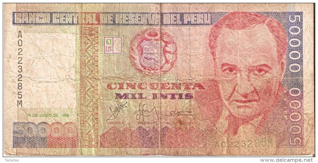 BILLETE DE PERU DE 50000 INTIS DEL AÑO 1988  (BANKNOTE) - Perú