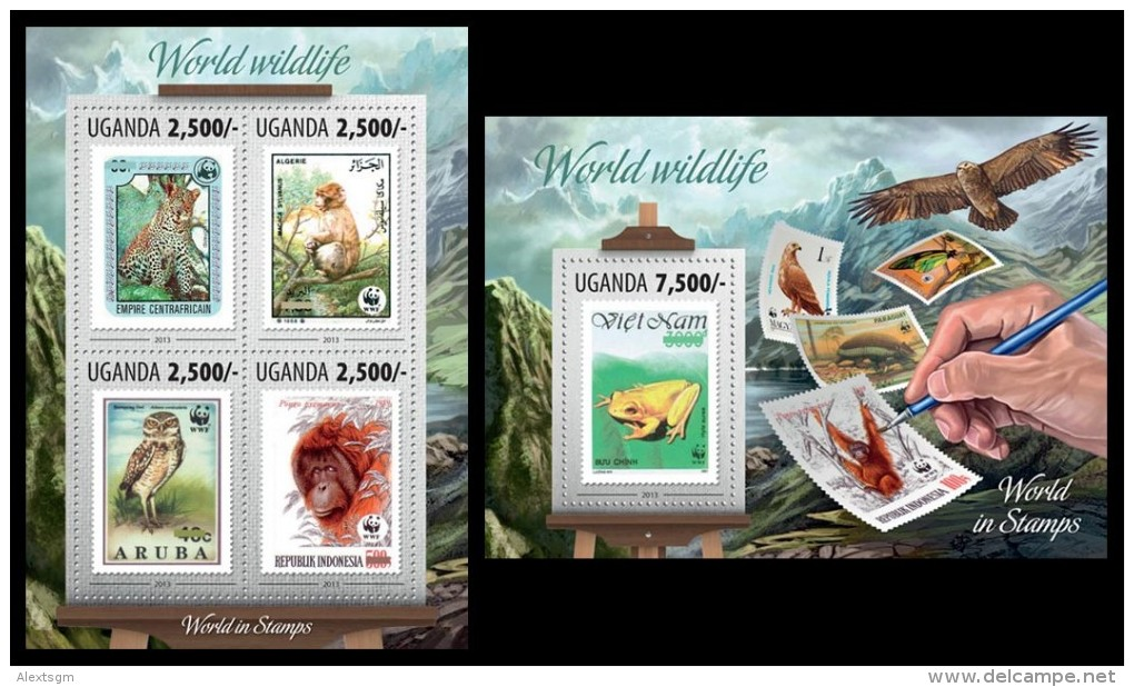 UGANDA 2013 - WWF. World In Stamps - YT 2598-601 + BF426; CV = 20 € - W.W.F.