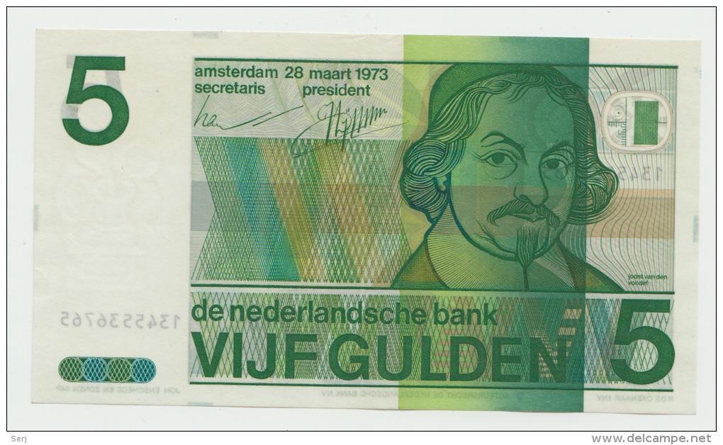 Netherlands 5 Gulden 1973 XF++ CRISP Pre-Euro Banknote P 95 - [2] 1815-… : Reino De Países Bajos