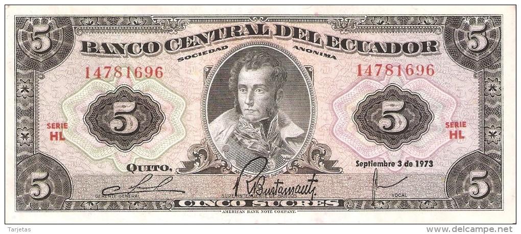 BILLETE DE ECUADOR DE 5 SUCRES DEL AÑO 1973 (BANKNOTE) - Ecuador