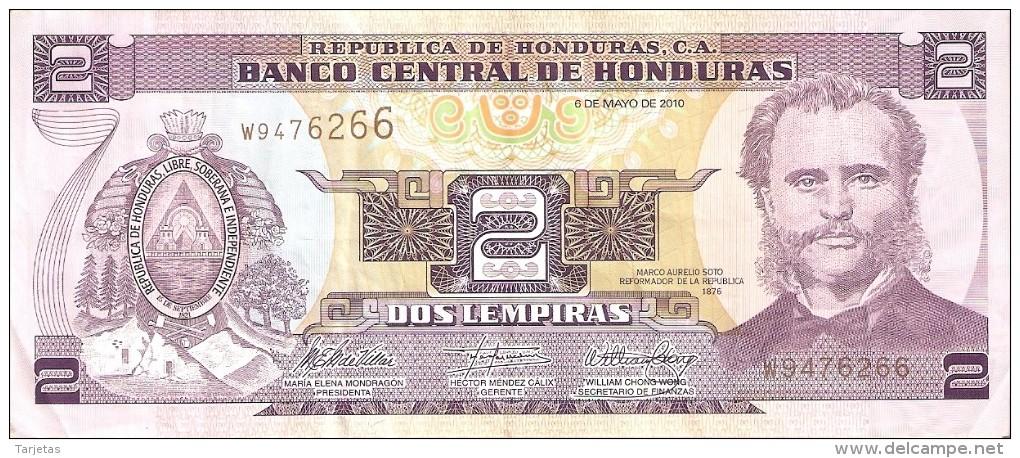 BILLETE DE HONDURAS DE 2 LEMPIRAS DEL AÑO 2010 (BANKNOTE) - Honduras