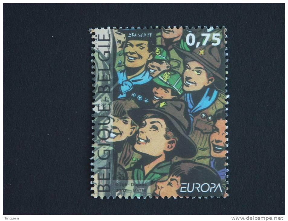 België Belgique 2007 Europa 100 Jaar Ans Scouts Scoutisme Cob 3634 Yv 3617 Timbre Du Bloc Cob 142 Yv 119  MNH ** - Belgium