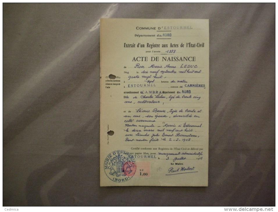 ESTOURMEL NORD MAIRIE LE MAIRE PAUL HERBERT EXTRAIT D´UN REGISTRE AUX ACTES DE L´ETAT CIVIL DE 1888 - Historische Dokumente