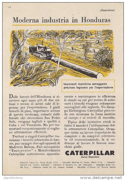 # CATERPILLAR TRACTOR Co.USA 1950s Italy Advert Pub Reklame Honduras Wood - Tractors
