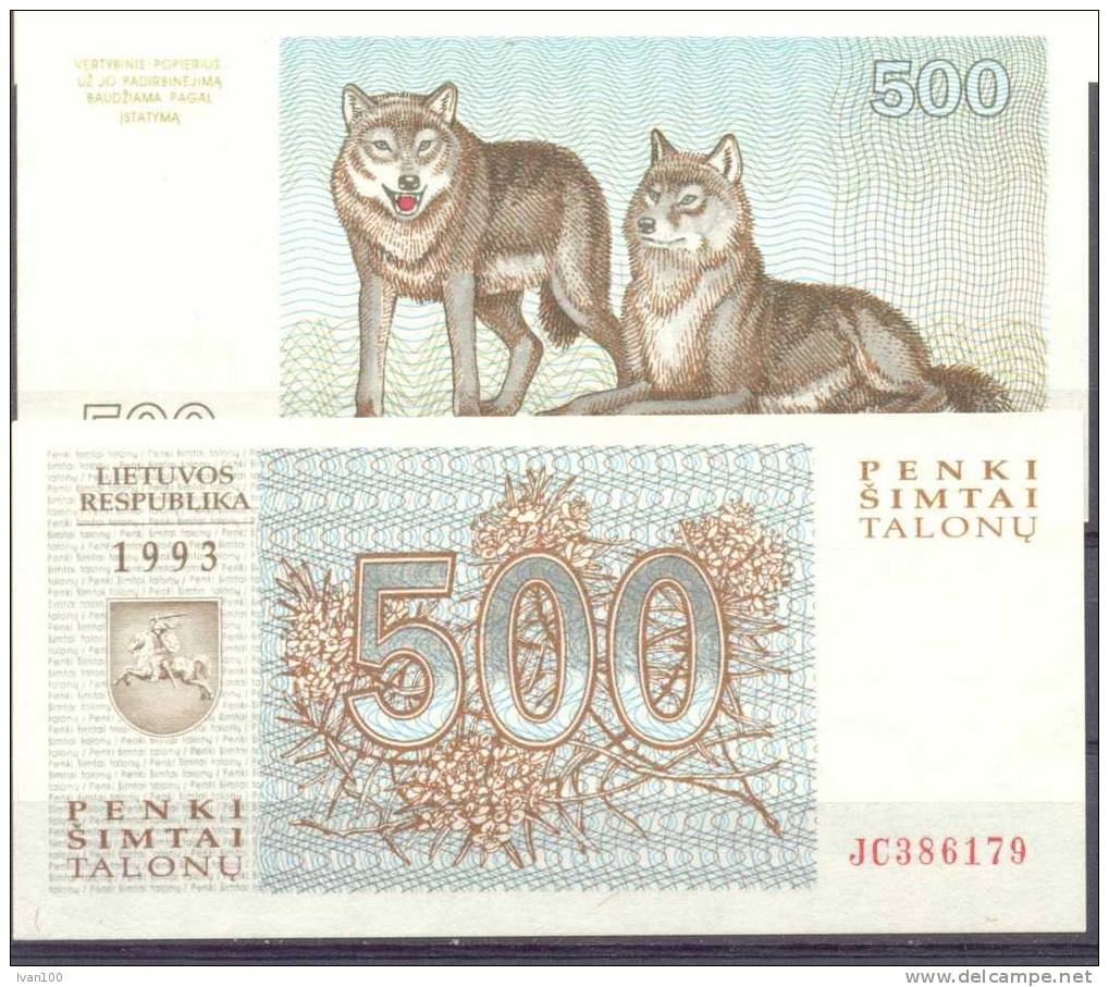 1993. Kithuania, 500 Talons, P-46, UNC - Lituanie