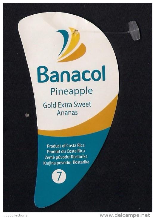 # PINEAPPLE BANACOL CALIBRE 7 Fruit Tag Balise Etiqueta Anhanger Costa Rica Ananas Pina - Fruits & Vegetables