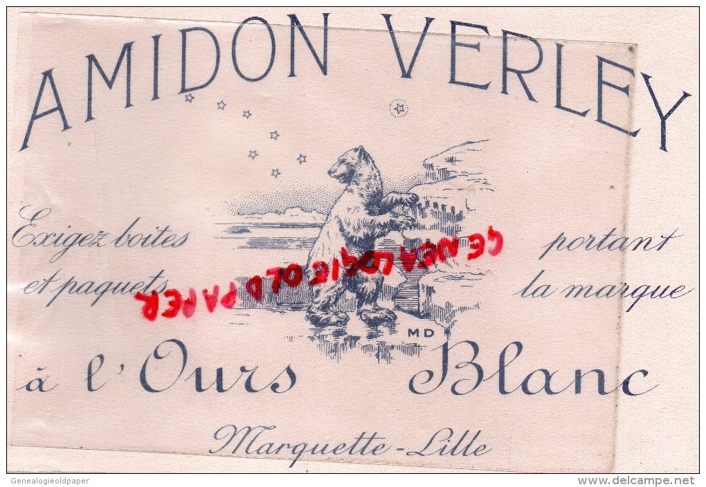 59 - LILLE - MARQUETTE - BUVARD AMIDON VERLEY - OURS BLANC - - A