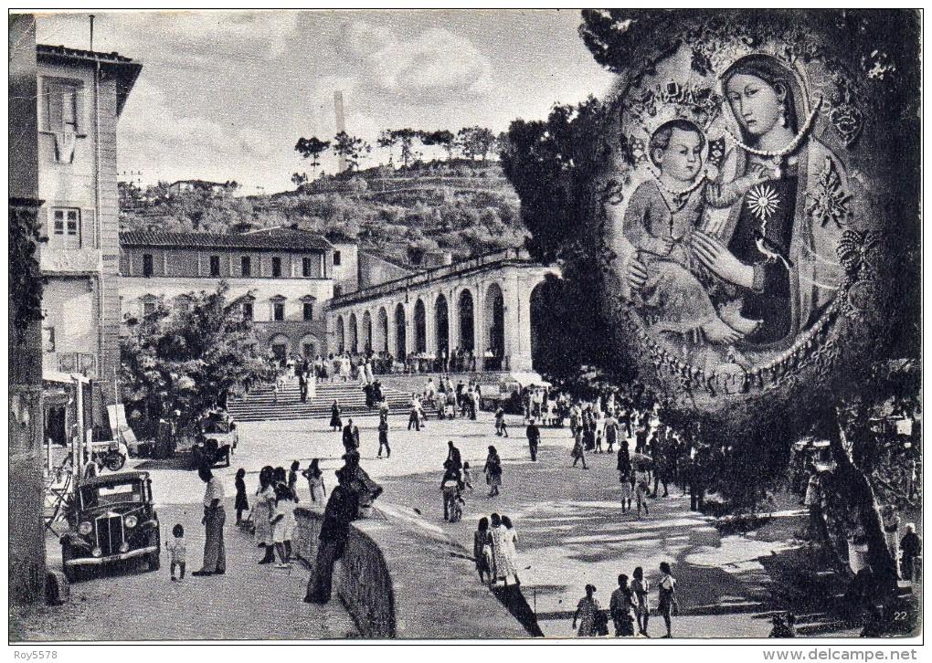 Toscana-livorno-montenero Veduta Piazzale Santuario Particolare Animatissima Anni 40/50 - Italia