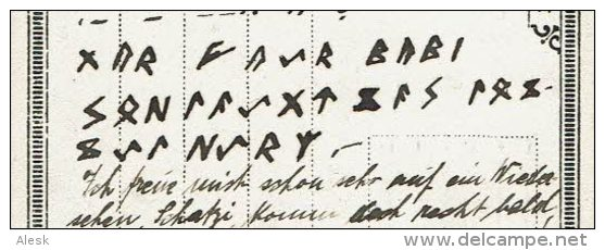 RUNE - MORSE - ECRITURE Runique Et En Morse Sur Carte Postale Allemande Du 4 Octobre 1918 - Other