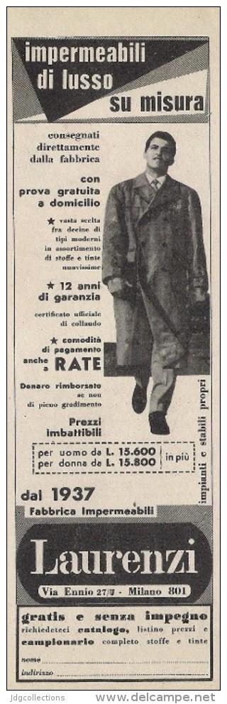 # LAURENZI MILANO IMPERMEABILI 1950s Advert Pubblicità Publicitè Reklame Impermeables Raincoats Tissue Fabric - Accessori