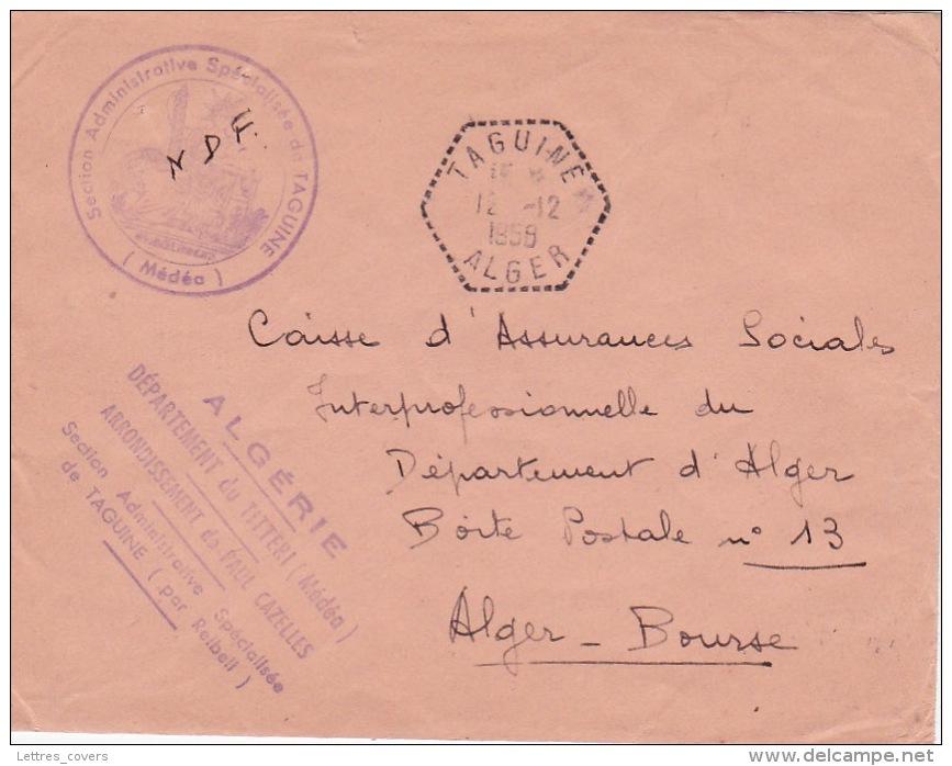 """Franchise """""""" SECTION ADMINISTRATIVE SPECIALISÉE De TAGUINE"""""""" + """""""" TAGUINE ALGER """""""" Agence Postale Sur  Lettre FM - ALGER - Covers & Documents"""