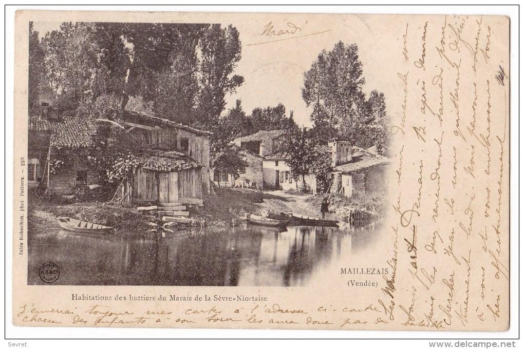 MAILLEZAIS -  Habitations Des Huttiers Du Marais De La Sèvre Niortaise.. Belle Carte. - Maillezais