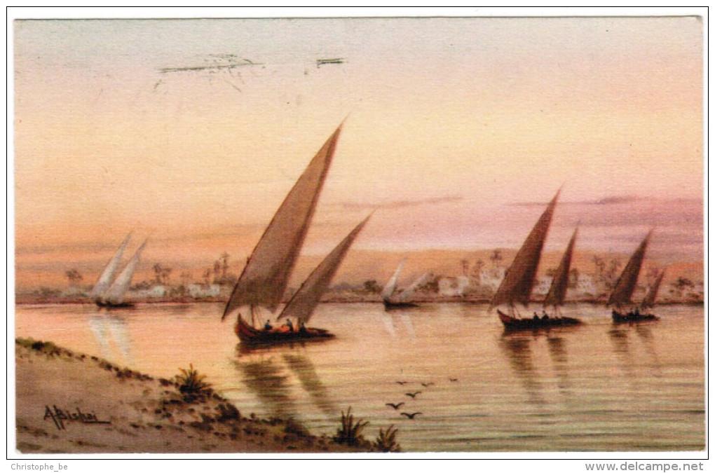 Egypt, Egypte, Felukas Sailing On The Nile At Sunset, A Bishai (pk21252) - Egypt
