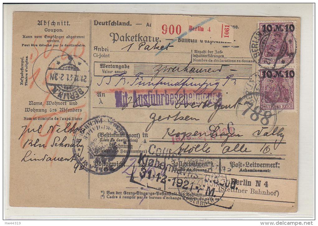 Paketekarte Mit Einigen Marken Aus Berlin 21.12.21 Nach Kopenhagen - Germany