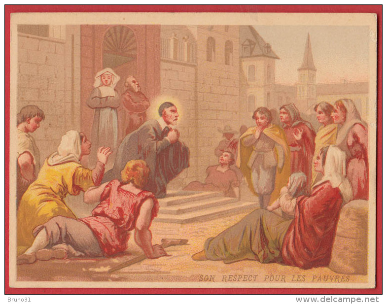 Chromo Bon Point  Saint Vincent De Paul - Respect Pour Les Pauvres , Format : 9 * 11,8 Cm , Recto Verso . - Images Religieuses