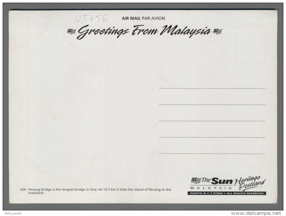 U5756 GREETINGS FROM MALAYSIA PENANG BRIDGE ExtraGrande (tur) - Malesia