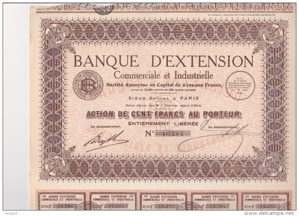 LOT DE 5 ACTIONS DE 100 FRANCS - BANQUE D'EXTENSION COMMERCIALE ET INDUSTRIELLE -1935 - Banque & Assurance