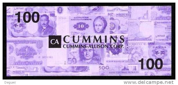 "Test Note ""CUMMINS"" Testnote, 100 UNITS, Eins. Druck, RRR, UNC - United States Of America"