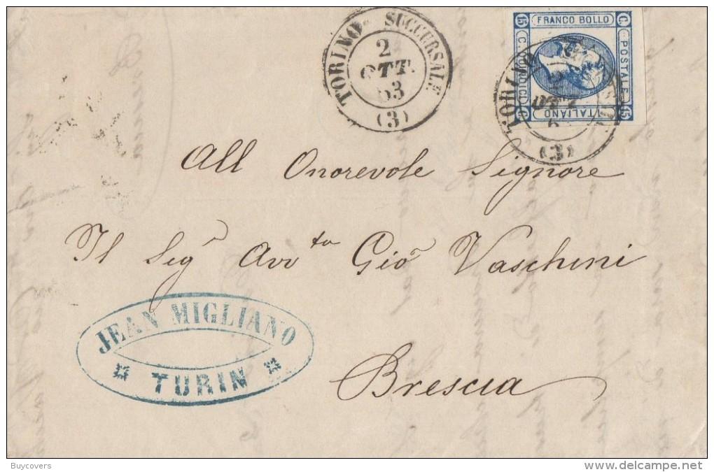 LITO58 - 15 Cent. Lito 2° Tipo Lettera Con Testo Del 2 Ottobre 1863 Da Torino A Brescia - VARIETA' -  Leggi - Storia Postale