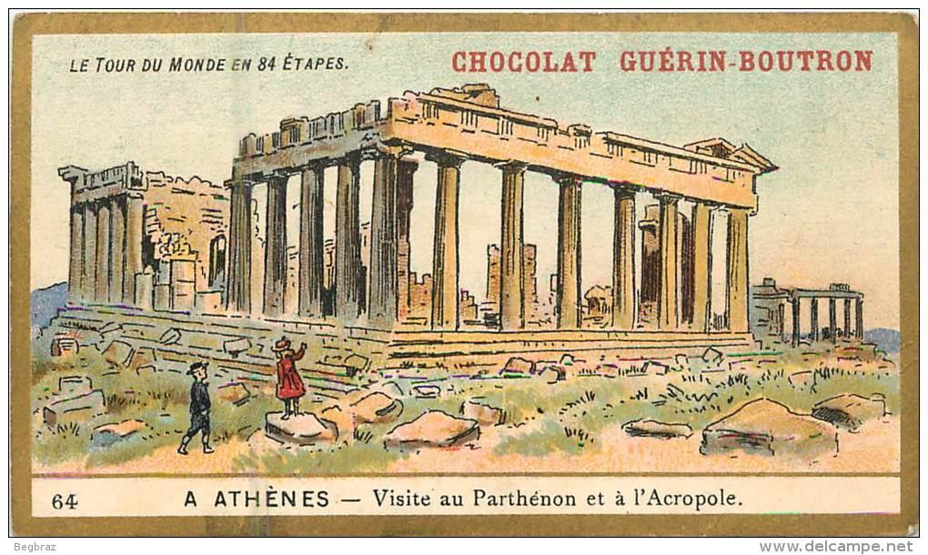 5 CHROMOS  CHOCOLAT GUERIN BOUTRON  10 Cm / 6,5 Cm     TOUR DU MONDE  MONACO GRECE ITALIE - Guérin-Boutron