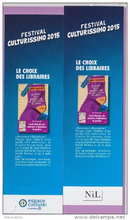Marque-page  °°  Festival Culturissimo 2015 - Nil  :-.  A Barrows °  Le Secret Des Chaussettes Inusables.  6 X 20 - Bladwijzers