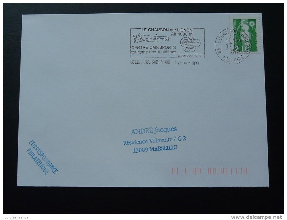 43 Haute Loire Le Chambon Sur Lignon 1990 - Flamme Sur Lettre Postmark On Cover - Marcophilie (Lettres)