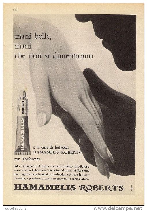 # HAMAMELIS MANETTI & ROBERTS Florence 1950s Advert Pubblicità Publicitè Reklame Firenze Jelly Hand Cream Cosmetics - Perfume & Beauty