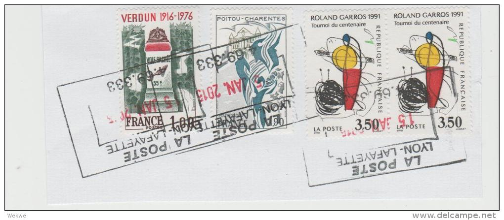 Frankreich  025 /  Fragment Mit 4,  Marken,  Verdun,Kunst  Etc. - Frankreich