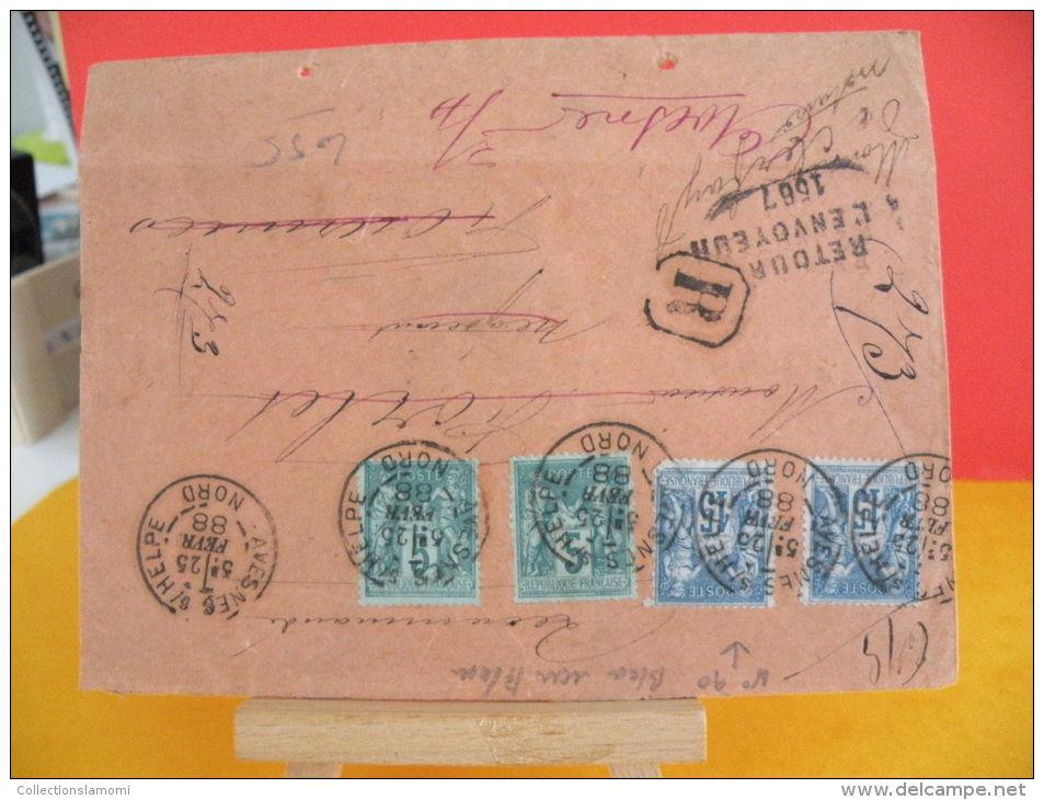 N°64 & N°90 Y&T - 59 Avesnes Sur Helpe 25.2.1888 / Fournies, Retour à L'envoyeur 1567 - 1876-1878 Sage (Type I)