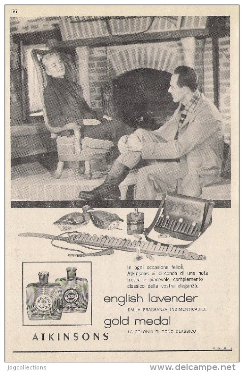 # ATKINSONS ENGLISH LAVENDER 1950s Italy Advert Pubblicità Publicitè Parfum Perfume Profumo Cosmetics Hunt Chasse - Unclassified