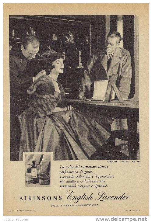 # ATKINSONS ENGLISH LAVENDER 1950s Italy Advert Pubblicità Publicitè Parfum Perfume Profumo Cosmetics - Unclassified