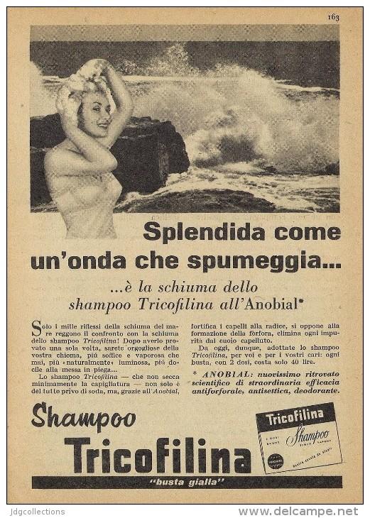 # SHAMPOO TRICOFILINA ITALY 1950s Advert Pubblicità Publicitè Reklame Hair Cheveux Haar Beautè Ocean Waves Flots - Perfume & Beauty