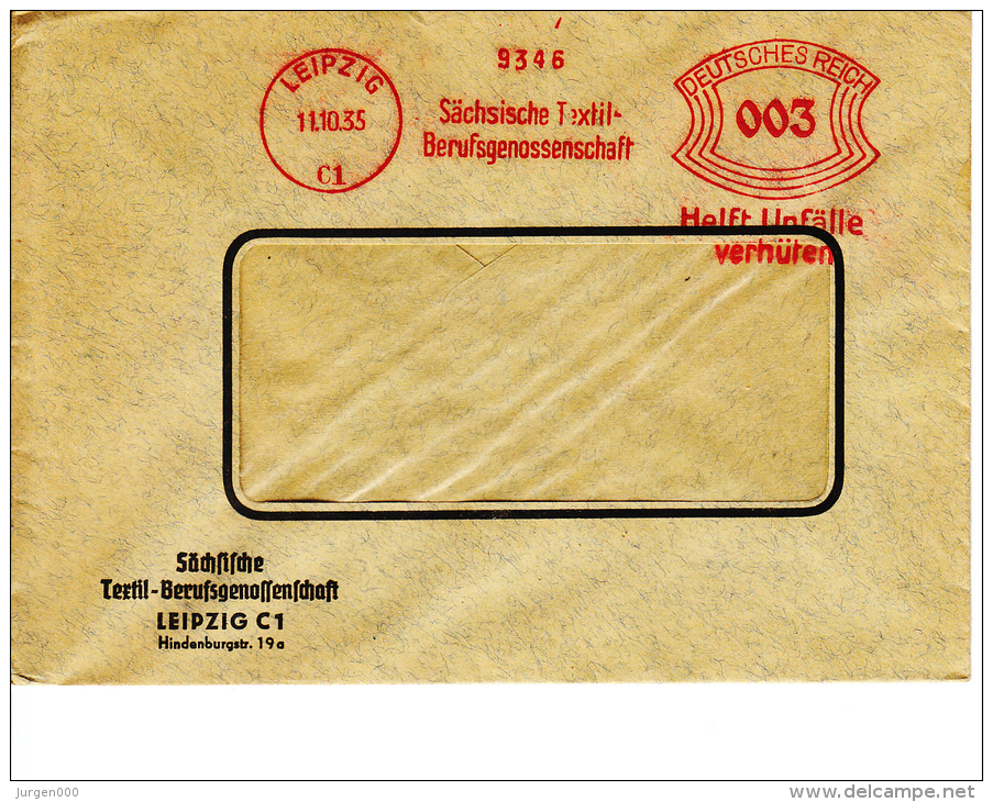 Deutsches Reich, Sächsische Textil-Berufsgenossenschaft, Leipzig, 1935 (5894) - Textile