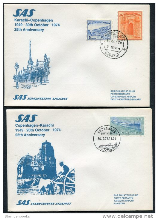 1974 Pakistan Denmark Karachi / Copenhagen SAS Flight Covers (2) - Pakistan